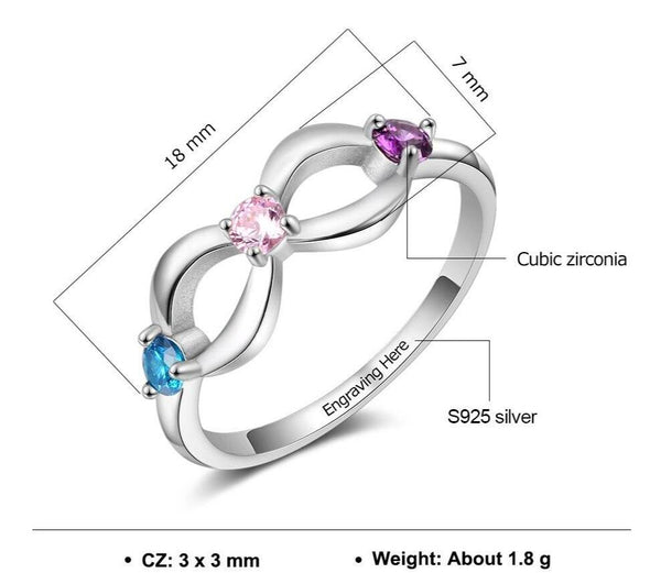 Infinity 925 Sterling Silver Womens Ring