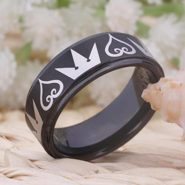 8mm King Crown and Hearts Black Tungsten Mens Ring