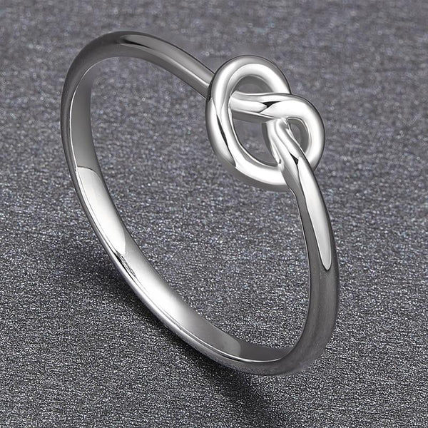 Simple knot silver knuckle ring for women
