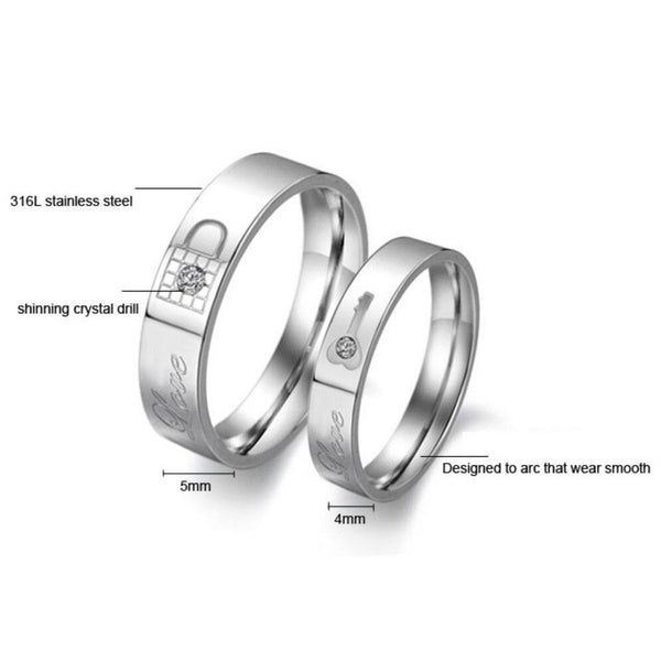 Lock and Key Silver Couples Rings