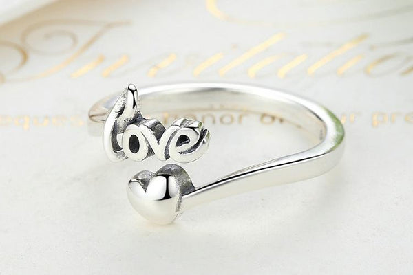 Love and Heart 925 Sterling Silver Womens Ring