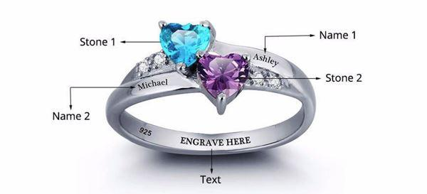 Promise ring for her - Personalized birthstones sterling silver womens ring