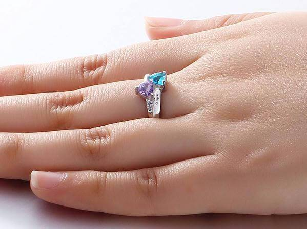 Personalized birthstones sterling silver womens ring