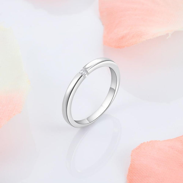 Simple minimalist sterling silver womens ring