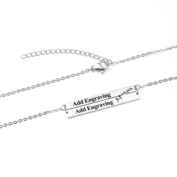 Mom heart personalized names bar necklace
