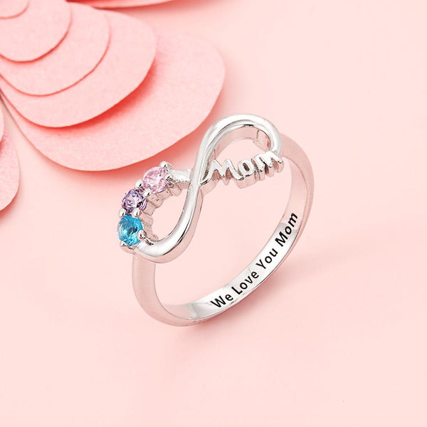 Mothers birthstone sterling silver ring