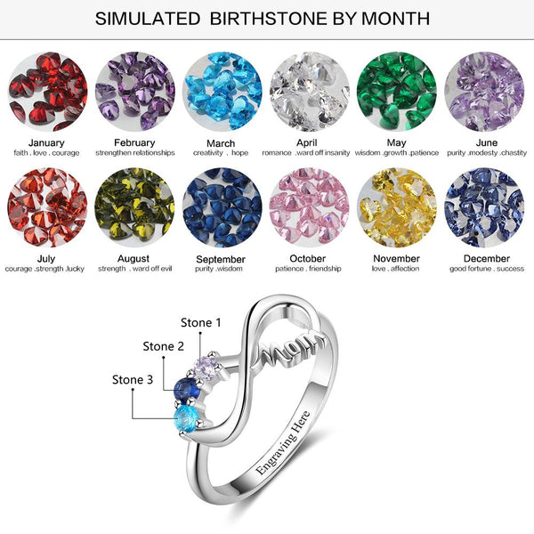 Mom birthstone womens ring gift for her