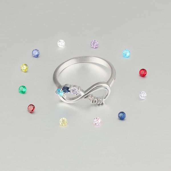 Mothers birthstone ring gift for her