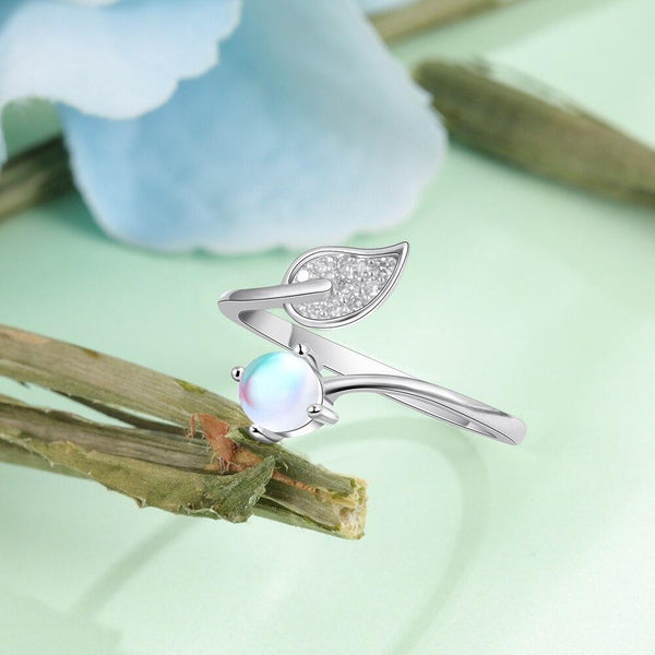 Moonstone with leaf sterling silver womens ring