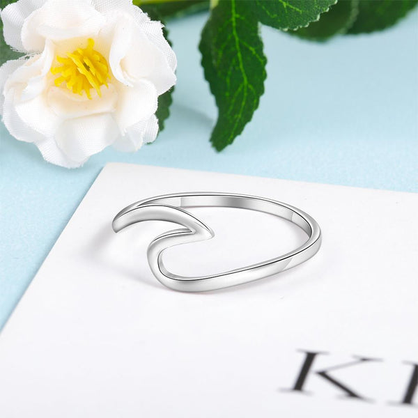 Wave ring - Ocean beach wave sterling silver ring