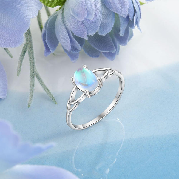 Oval moonstone sterling silver womens ring