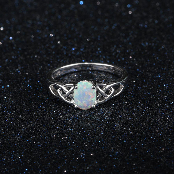 Celtic knot rings - white opal silver womens ring