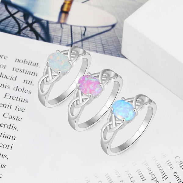 Celtic knot rings - opal silver womens ring