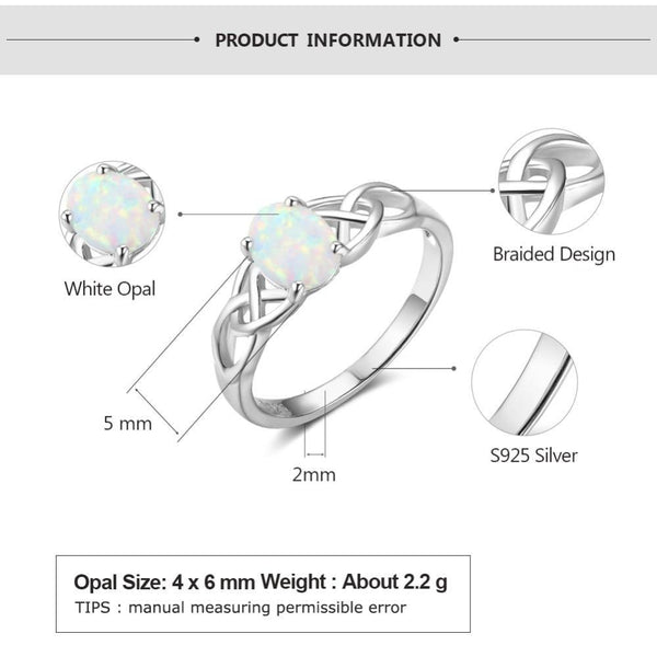 Opal rings - Celtic knot silver womens ring