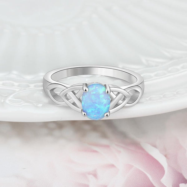 Celtic knot rings - blue opal silver womens ring