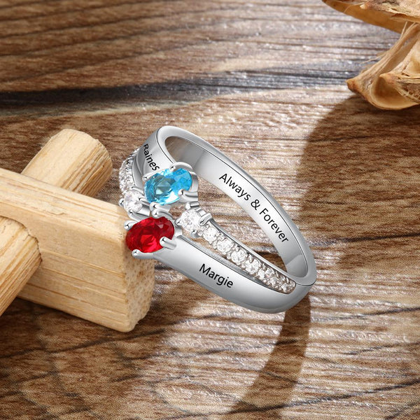 Promise rings for her - personalized birthstones ring