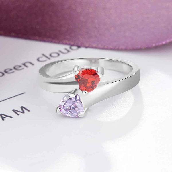 Personalized birthstones and engraving womens ring