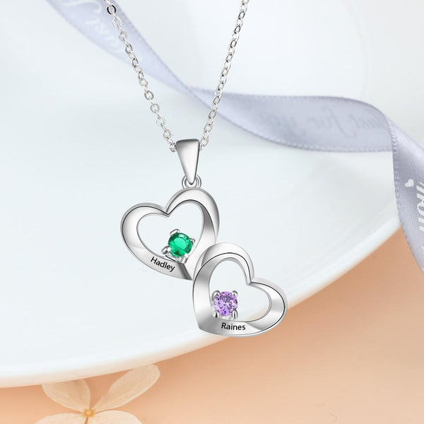 Personalized hearts necklace with two birthstones