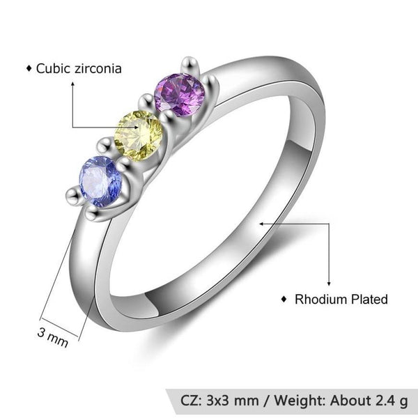 Personalize three birthstones silver womens ring
