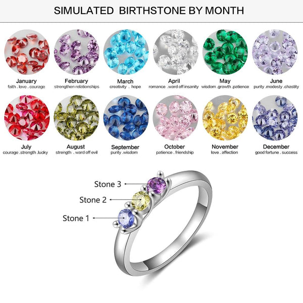 Personalize birthstones silver womens ring