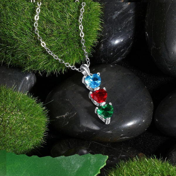 Three personalized birthstones womens necklace