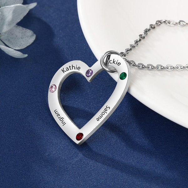 Four personalized birthstones and names heart necklace
