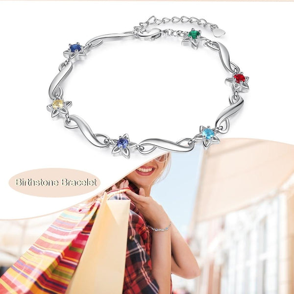 Infinity and stars personalized birthstones bracelet
