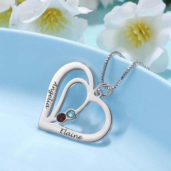 Personalized birthstones sterling silver heart necklace