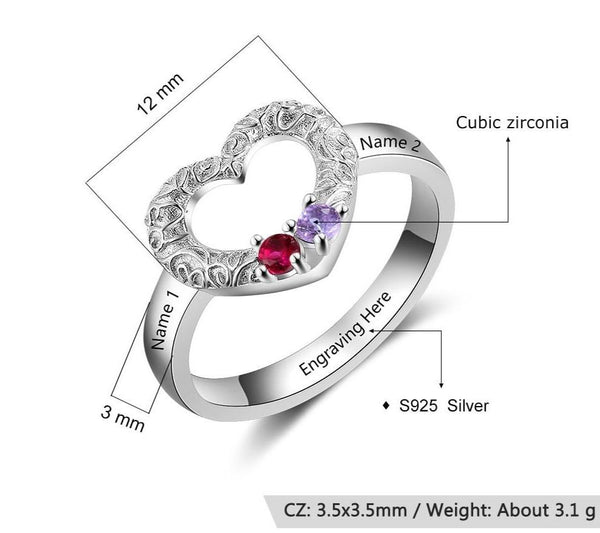 Personalized sterling silver heart ring with two birthstones
