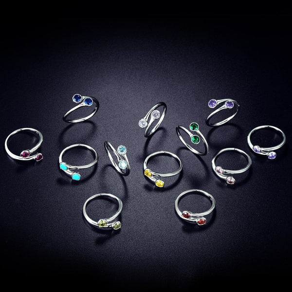Promise rings for her - personalized birthstones womens ring