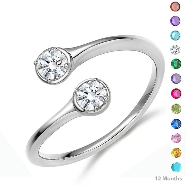 Promise rings for her - personalized birthstones silver ring