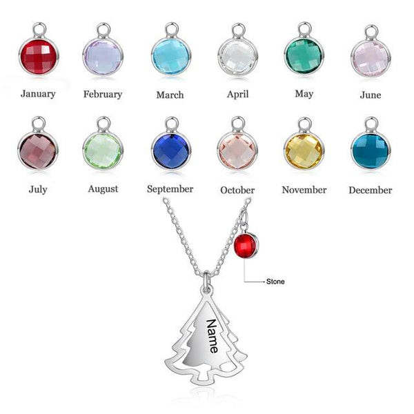 Personalized Birthstones & Names Christmas Tree Necklace
