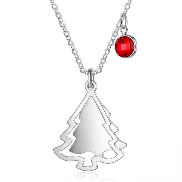 Personalized Birthstone & Name Christmas Tree Necklace