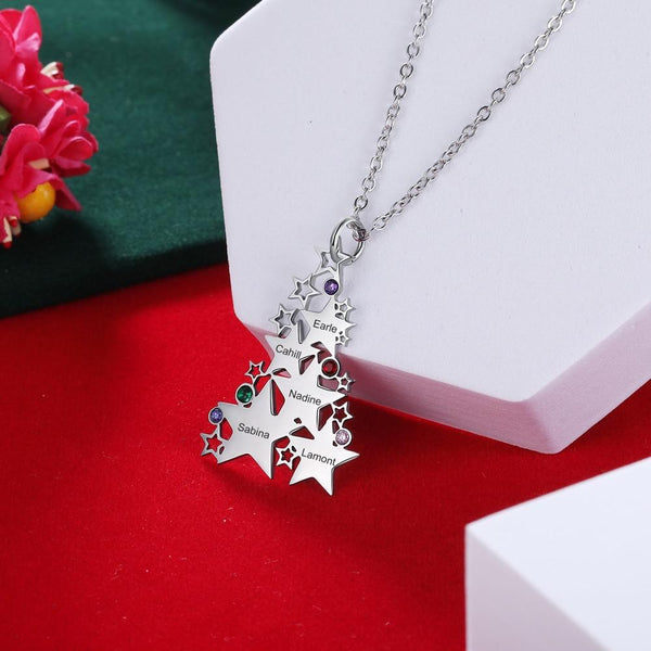 Christmas Tree Family Friends Personalized Birthstones Necklace