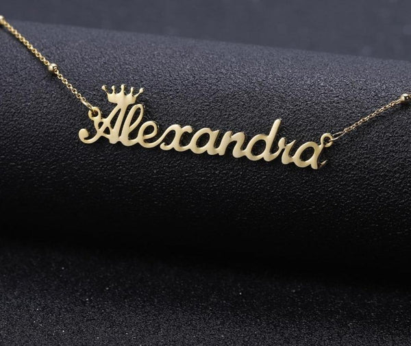 Name necklaces with gold crown