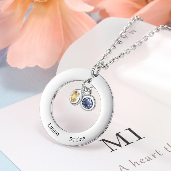 Personalized three birthstones necklace gift for women