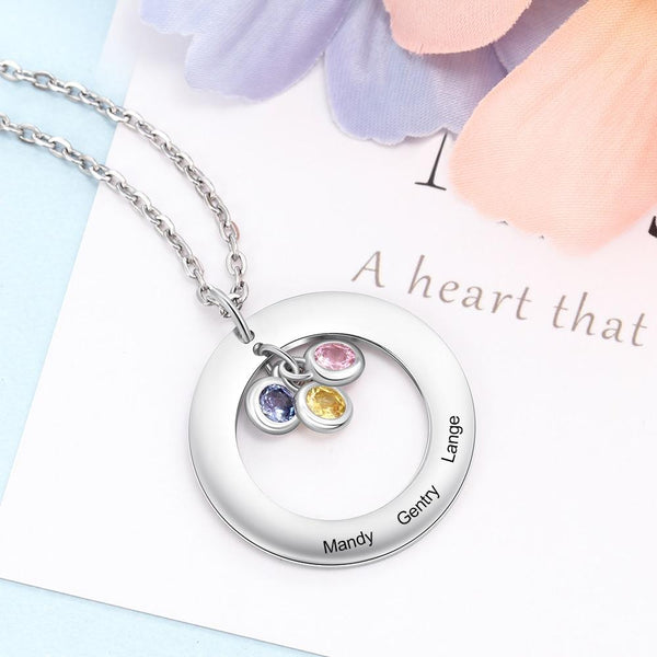 Personalized birthstones necklace gift for women