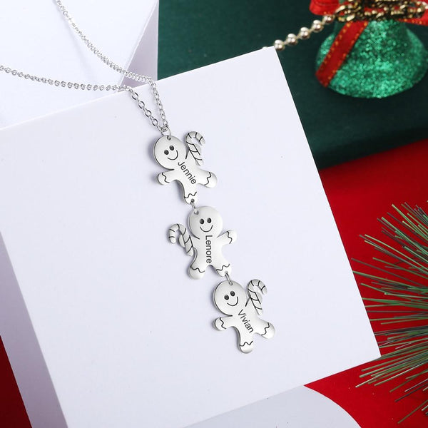 Christmas necklaces - personalized gingerbread men womens necklace
