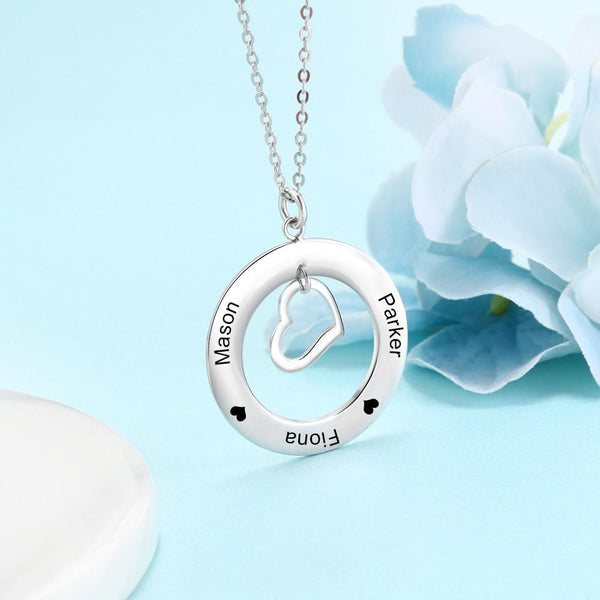Personalized hearts silver necklace
