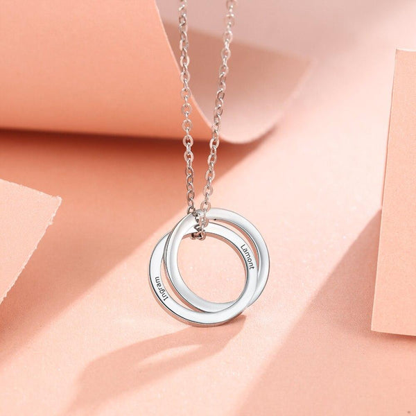 Custom engraved silver necklace for women