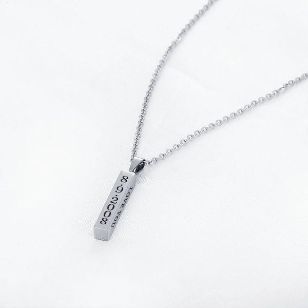 Personalized engraved name bar silver necklaces