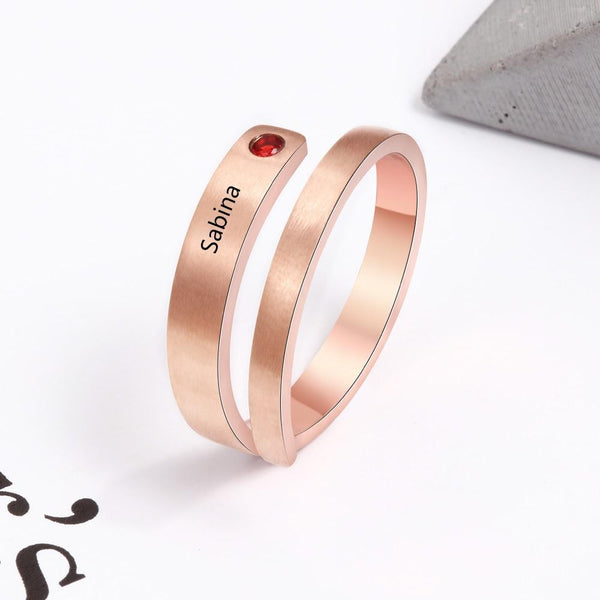 Custom name and birthstone womens rose gold ring
