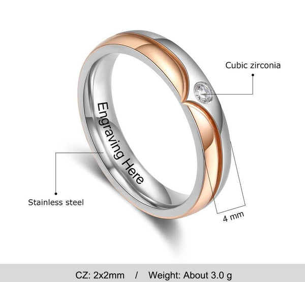 Custom engraved couples rings for him and her