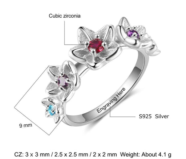 Flower ring - personalized birthstones womens ring