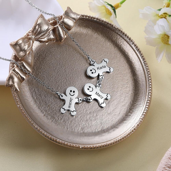 Christmas jewelry - gingerbread men personalized necklace