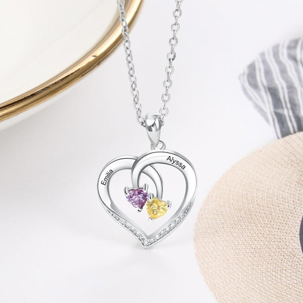 Personalized Heart 925 Sterling Silver Necklac
