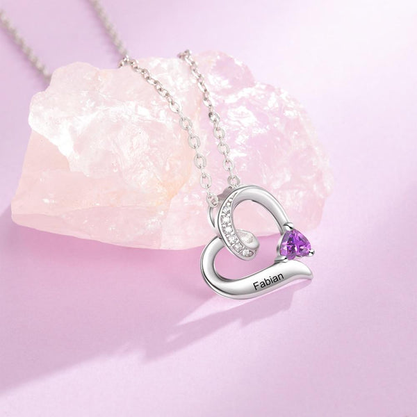 Personalized engraved heart necklace for women