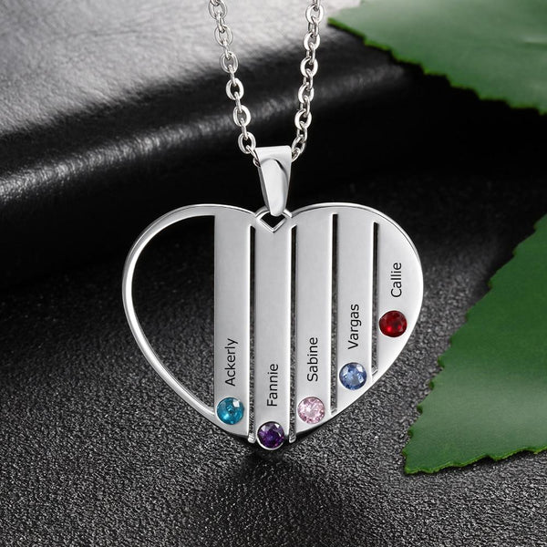 Personalized birthstone family name necklace