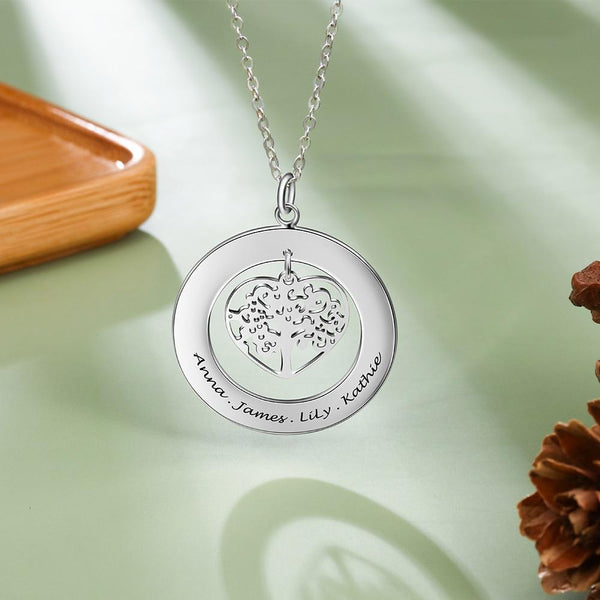 personalized tree of life silver necklace