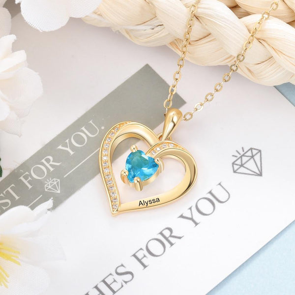 Personalized birthstone heart womens necklace